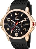Lamkei Imported Chronograph Display Black Dial Black Silicone Strap Men's Watch – LMK-0034