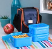 All Time 9302 Food Gear Blue Plastic Lunch Box Set of 3