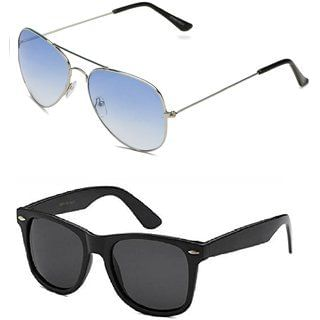 e9b3c011a7 Code Yellow Blue Aviator Sunglasses + Free Black Wayfarer (UV PROTECTED)  Sunglasses