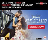 Get 2 FREE Tickets Or Rs. 500 OFF with SBI Credit Card