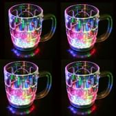 Jamboree Automatic When Pour Water LED Sensor Light Up Drinkware Plastic Tumbler Cups Mug - 4 Pcs