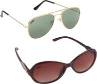 Criba Gradient Aviator Unisex Sunglasses - (ldy brn+ggn_CRLK|40|Black Color Lens)