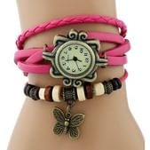 Vintage Round Dial Pink Leather Analog Watch For Women