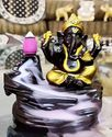 eCraftIndia Lord Gold Ganesha Smoke Backflow Cone Incense Holder Decorative Showpiece with 10 Free Smoke Backflow Scented Cone Incenses