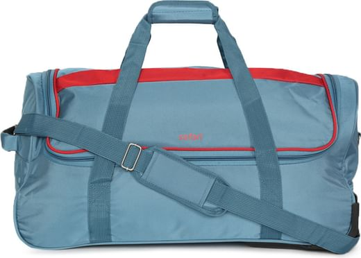 3fce549e11 Safari Unisex Teal Blue Grid-RDFL-65 Trolley Duffel Bag