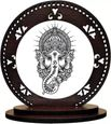 GiftzLane Ganesha Decorative Showpiece - 8 cm (Wood, Multicolor)