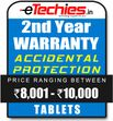 Etechies Tablets 1 Year Extended Accidental Damage Protection For Device Worth Rs 8001 - 10000
