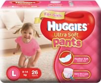 Huggies Ultra Soft Pants Diapers for Girls, Large (Pack of 26)