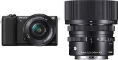 Sony Alpha ILCE5100L 24.3MP DSLR Camera with Sony 16-50mm Lens, Sigma 45mm f/2.8 DG DN Lens