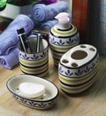 VarEesha Blue Ceramic Leaf Bathroom Accessories Set - Set of 4
