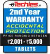 Etechies Tablets 1 Year Extended Accidental Damage Protection For Device Worth Rs 2001 - 5000