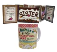 Natali™ Gift for Sister on Raksha Bandhan - Matchbox Greeting Card & Quote Coffee Mug