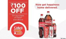 Flat Rs. 100 OFF on Minimum Bill of Rs. 300 at Coke2Home