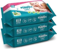 Supples Baby Wet Wipes with Aloe Vera and Vitamin E, 72 Pieces, White (Pack of 3)
