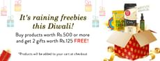 Buy products worth Rs.500 or more and get 2 gifts worth Rs.125 free
