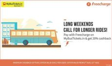 Upto Rs. 135 Cashback on Mybustickets via Freecharge