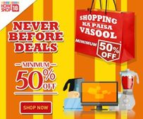 Minimum 50% OFF on Home, Electronics, Mobiles, Fashion Products & More