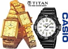 Men's Wrist Watches Casio, Fossil & Titan at Upto 50% OFF