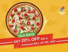 Get 20% OFF on Rs. 400: Dominos Pizza