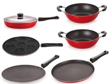 Nirlon Non-Stick Aluminium Cookware Utencils Set with 1 Lid, 6-Pieces, Red & Black