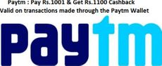 Pay Rs. 1001 & Get Rs. 1100 Cashback on transactions made through the Paytm Wallet