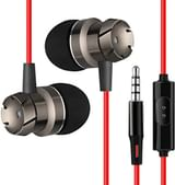 PTron HBE6 Headphone Metal Earphone in-Ear Wired Headset with Mic (Red/Black)