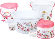 Plastic 6 Pcs Bucket Set in Pink & White by Meded