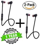 Kingsford Pack of Two Magnetic Bluetooth Attractive Headphone Headset with Noise Isolation and Hands-Free Mic