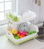 Plastic Kitchen Dish Drainer with 2 Racks - 16 X 13 inches