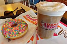 Donut from Dunkin' Donut and Regular Cappuccino