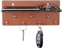 Sehaz Artworks Simple Shelf Wooden Key Holder (25 cm x 11 cm x 0.3 cm, Brown)