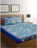 Cortina 104 TC Cotton Double Bedsheet with 2 Pillow Covers