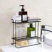 ORPIO (LABEL) Stainless Steel Double Layer Kitchen Storage Basket, Bathroom Toiletries Floor Corner Self Storage Rack (Black)