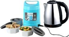 Cordless 1.8lt Stainless Steel Electric Kettle + 3 Container Electric Lunch Box