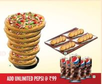 Get Unlimited Pizza at Pizza Hut from Rs. 199 + Unlimited Pepsi at Rs. 99.