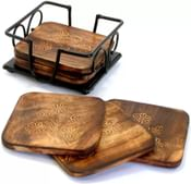 Worthy Shoppee Square Wood Coaster (Pack of 6)