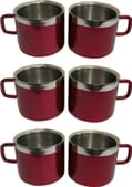 Dynore Double Wall Maroon Stainless Steel Cups - Set of 6