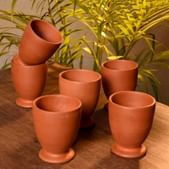 AryanCraft Clay Earthenware Cool Water Glass, Brown - Set of 6 Pieces