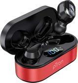 pTron Bassbuds Plus in-Ear True Wireless Stereo Headphones (TWS) with Mic - (Red & Black)
