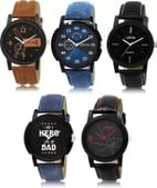 LOREM LK-1-2-5-7-8 Multicolor Designer pack of 5 Watch, For Men