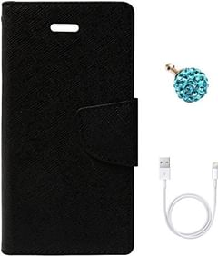 DMG Mercury Goospery Case Fancy Diary Flip Wallet Cover for Apple iPhone 5 + 3.5mm Dust Jack + Data Cable